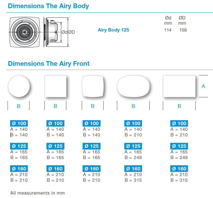 airy valve dimenisons